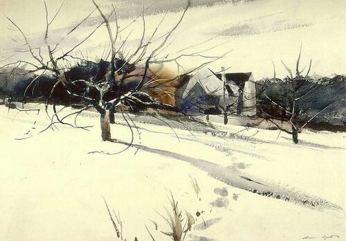 "Winter landscape by Andrew Wyeth, ""Gray Barn,"" 1938."