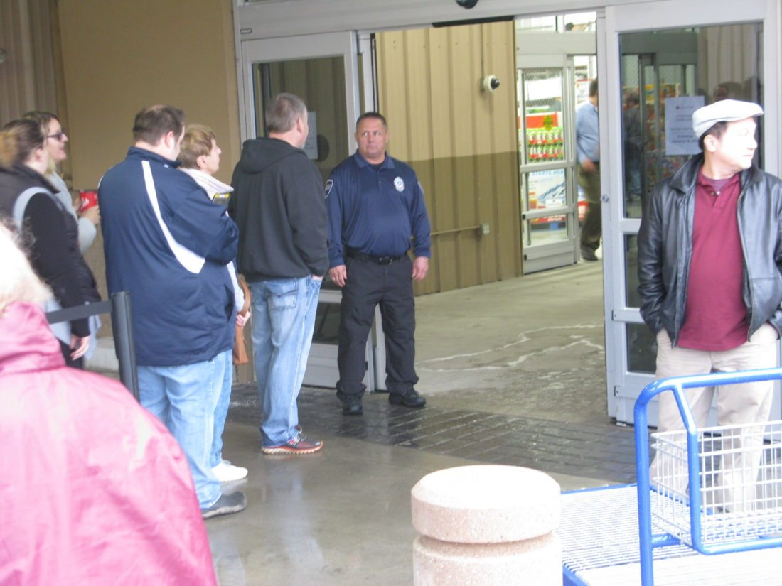 Customers wait to enter Sam's Club on Friday morning. Local business owners and elected officials said they are worried over the impact the store's closing will have.  P-J photo by Eric Tichy
