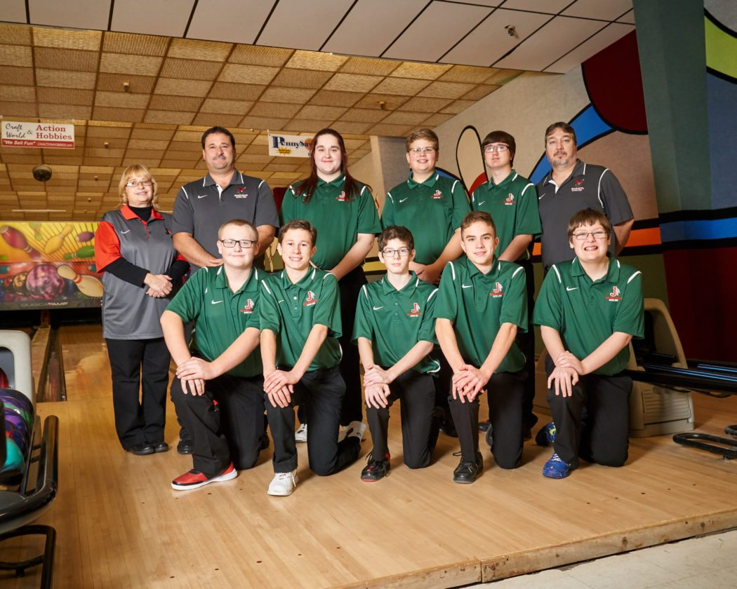 Members of the Jamestown boys bowling team, in front, from left, are: Zach Ryberg, Colton Cappalino, Brandon Michael, Riley Piazza and manager Kenny Miller. In back are: head coach Peggy Harris, assistant coach James Cappalino, William Ploetz, Kyle Christensen, Austin Aldrich and assistant coach Brandon Miller. Submitted photo