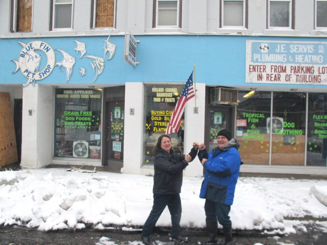 "Sylvia and Dan Magara, co-owners of the Blue Fin Pet Shop at 17 Main St. in Falconer, are retaining a sense of humor and gratitude in the aftermath of Sunday's fire in the village of Falconer, which they refer to as ""Round Two."" The pet shop has survived two fires in very close proximity to its storefront in the past 10 months. P-J photo by Gavin Paterniti"