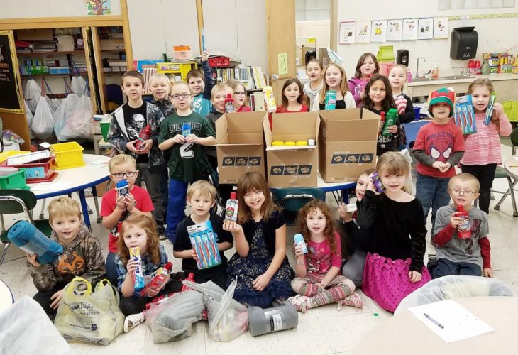 Mrs. Bates' kindergarten and Mrs. Zappie's first-grade classes joined the effort to send relief to Puerto Rico. Students have been collecting boxes of goods to ship to a nursing home.