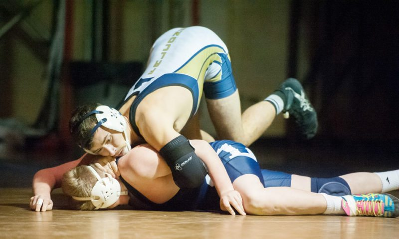 Falconer/Cassadaga Valley's Dylan Ingrao is in control of Chautauqua Lake/Westfield/Panama's Brad Babcock in the 152-pound match Wednesday night at Falconer Central School. Ingrao won via pin in 33 seconds. P-J photo by Valory S. Isaacson