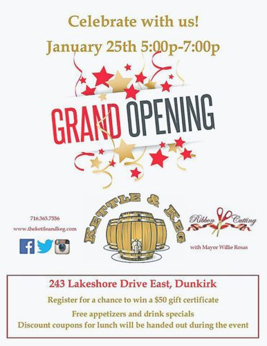 The Kettle & Keg, located at 243 Lakeshore Drive East, Dunkirk, will celebrate a grand opening celebration from 5-7 p.m. Thursday. Dunkirk Mayor Willie Rosas is scheduled to attend the ribbon cutting. Submitted photo