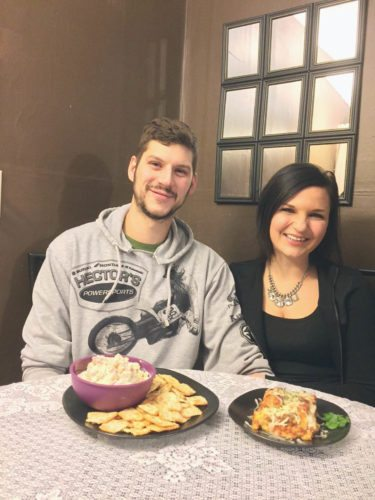Kyle Hull and Alyssa Crossley are ready to dig into Party Dip and Totsagna. Crossley said in addition to time spent in the kitchen, her passion also is found in jewelry making.   Photos by Beverly Kehe-Rowland