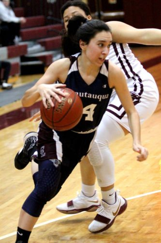Chautauqua Lake's Katelyn Fardink dribbles past a Dunkirk defender during their CCAA Division 1 West game in Dunkirk on Thursday night. P-J photo by Lisa Monacelli