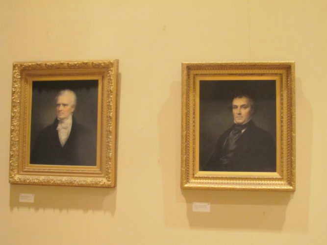 Left, James Prendergast, founder of Jamestown, and Alexander Thomas Prendergast, James Prendergast's son, are two of the Prendergast family paintings now hanging on the walls in the James Prendergast Library's Fireplace Room. People can view the oil paintings of the Prendergast family during Doors Open Jamestown Saturday. P-J photo by Dennis Phillips