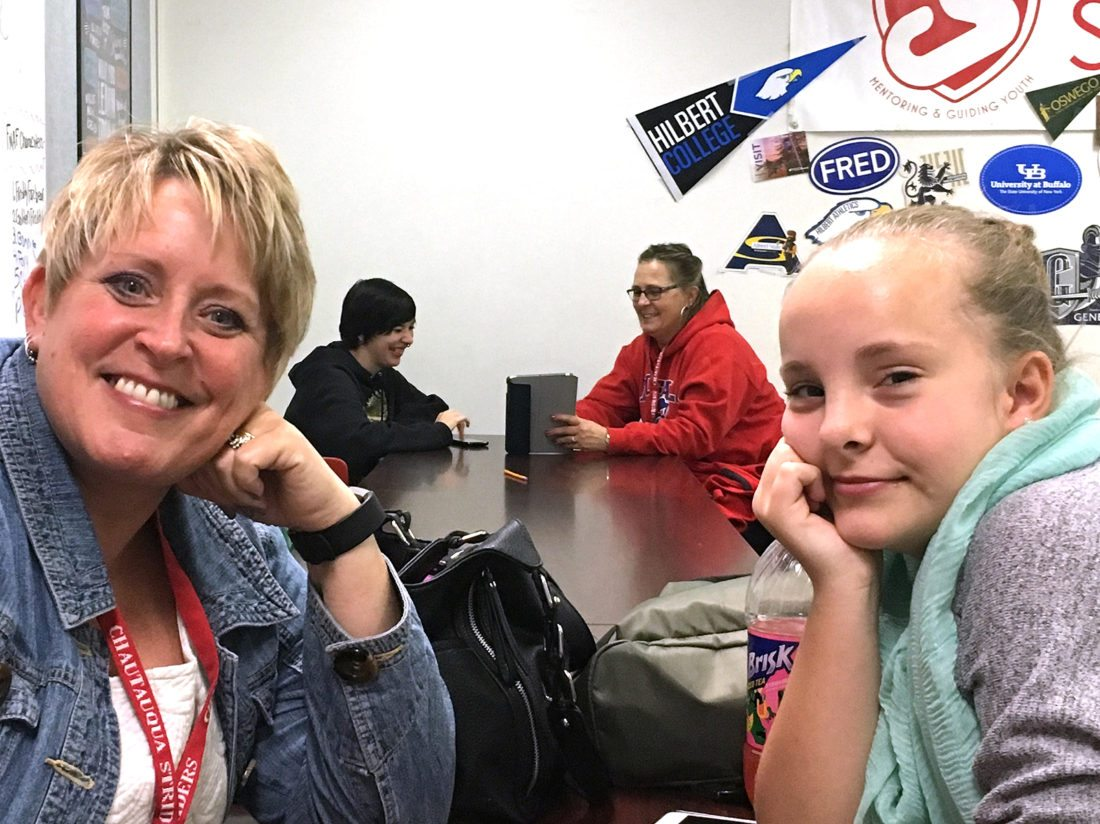 Chautauqua Striders mentor, Kim Ecklund, and her mentee, Ashlie, during a recent visit.