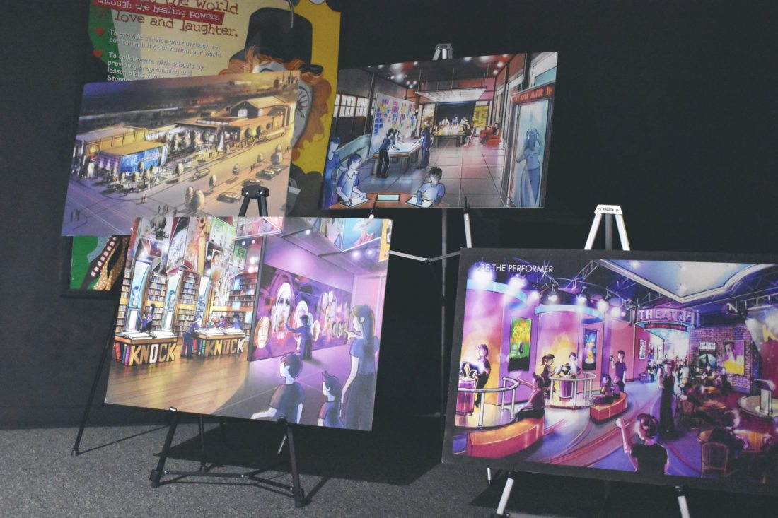 Several artist renditions of the National Comedy Center were displayed Saturday as part of Doors Open Jamestown in the city. P-J photo by Jordan W. Patterson