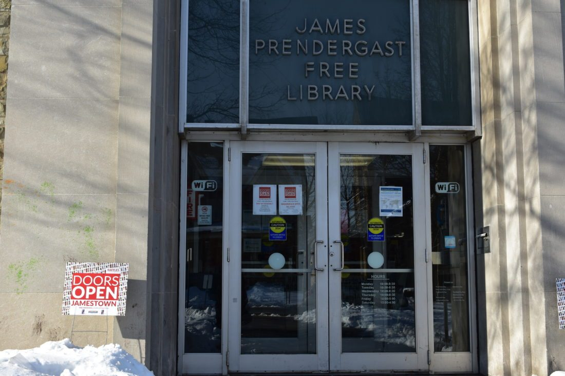 """The entrance of the Jamestown Prendergast Library pictured Saturday during """"Doors Open Jamestown."""" More than 60 businesses and organizations took part in the annual event. P-J photo by Jordan W. Patterson"""