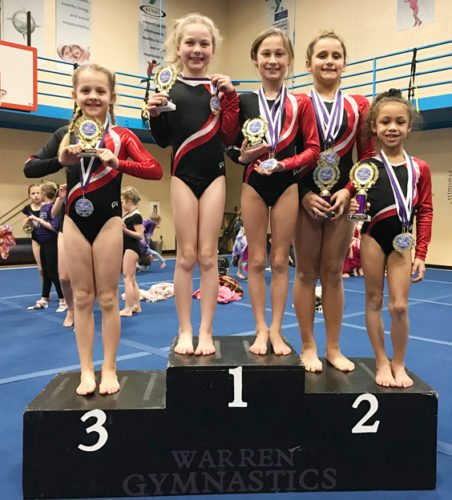 From the left, Clarissa Hern, Delaney White, Molly Colburn, Addison Calimeri and Maliyah Stone of the Lakewood Starz show off the hardware they won following a recent gymnastics meet in Warren, Pa. Calimeri won five events to lead the way in the 8-9 Division. Submitted photo