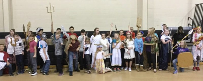Jefferson Middle School sixth-graders are pictured as Greek gods and goddesses during a recent Greek Gods and Goddesses Fair. The event was the culmination of an English language arts unit.