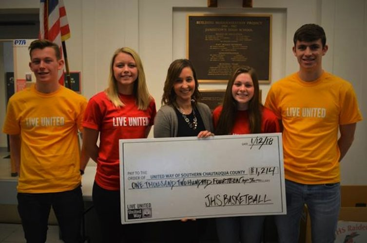 Pictured, from left, are Henry Malarkey, Taylor Evan, United Way Executive Director Amy Rohler, Katelyn Bennett, and Matt Hill. Submitted photo
