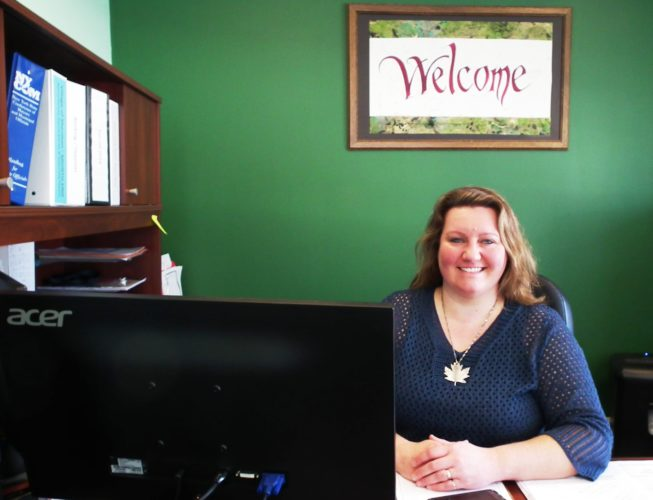 """Sherman Mayor Colleen Meeder pictured at her desk in the village. Meeder said she plans to """"hit the ground running"""" in her first term as mayor.  Photo by David Prenatt"""