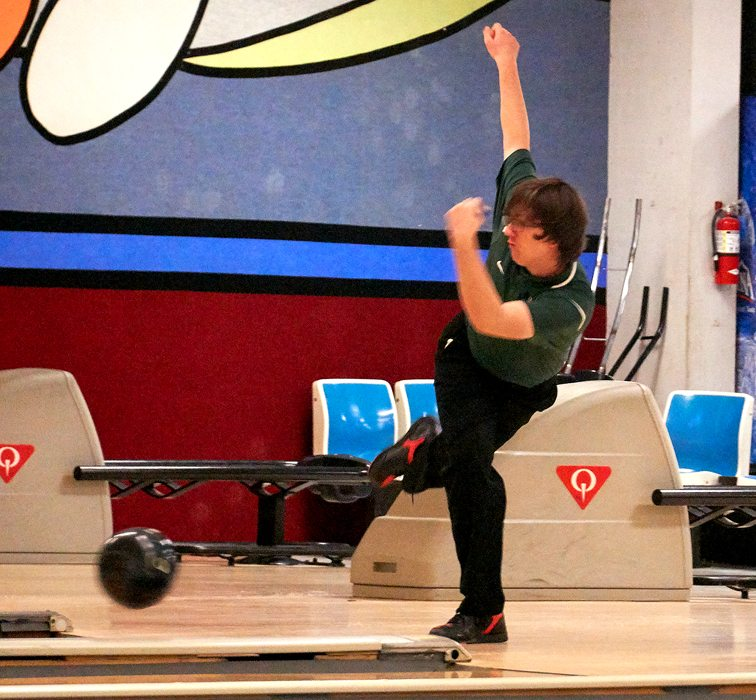 Jamestown's Austin Aldrich delivers during a CCAA Division 1 boys bowling match against Falconer on Wednesday afternoon at Jamestown Bowling Company. P-J photo by Chad Ecklof