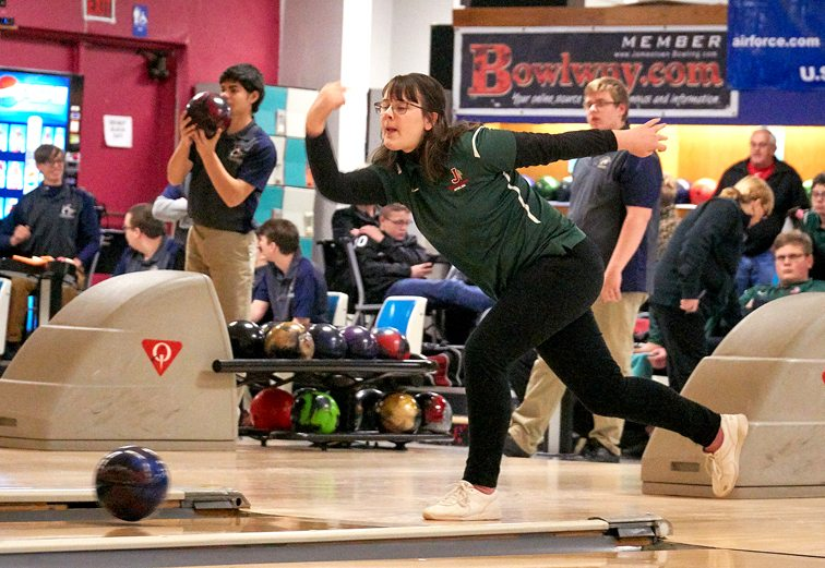 Jamestown's Justice Edens delivers during a CCAA Division 1 girls bowling match against Falconer on Wednesday afternoon at Jamestown Bowling Company. P-J photo by Chad Ecklof