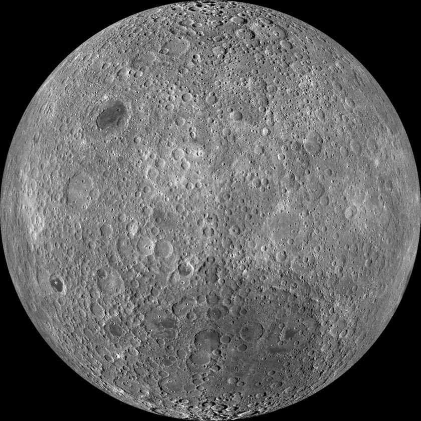 Although it's easy to see craters on the moon using binoculars, you won't see any of these craters. This image shows the far side of the moon that always faces away from Earth. Over vast periods of time, tidal forces from Earth slowed down the moon's rotation, in a process called tidal locking. Now, the same side of the moon always faces Earth.                              Courtesy LRO, NASA, GSFC, Arizona State Univ.
