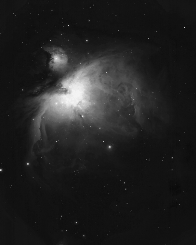 On clear evenings this month, this bright nebula can be spotted without optical aid. It lies just below the three belt stars in Orion. Binoculars or a small telescope will help to view the enormous gas and dust clouds in this star forming region.                                                 Courtesy Bill Schoening/ NOAO/AURA/NSF