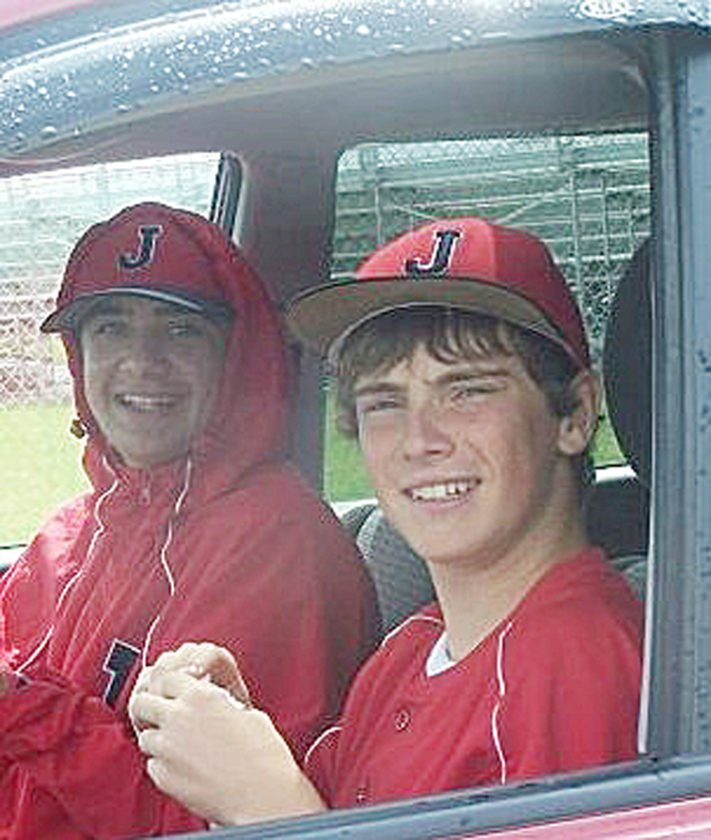 Cody Crandall, left, is seen with his lifelong friend, Gannon Jackson, during their baseball playing days at Jamestown High School. Photo courtesy of Gannon Jackson
