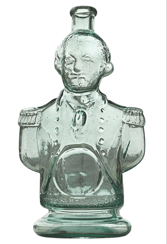 This bottle, shaped like a bust of George Washington in his uniform, held Simon's Centennial Bitters. It sold recently at a Glass Works auction for $748. It is 9 7/8 inches high.