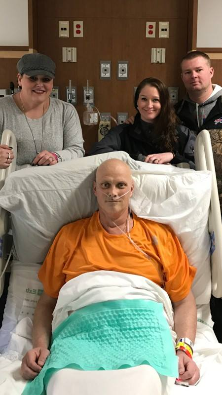 Michael Seeley is pictured recently at the Cleveland Clinic with his wife, Nicole, at left, and Sashene and Chad Bargar. Seeley recently learned that his leukemia has returned following a bone marrow transplant in November. The Seeleys are currently looking at their options for future treatment.  Submitted photo
