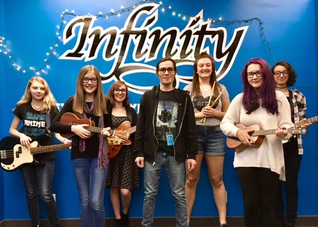 """The Infinity Visual and Performing Arts student ensemble Joan and the Arcs is pictured with instructor Jeremy Bunce, center. Infinity announced its inaugural """"Step Up for the Arts"""" fundraising campaign, which starts Tuesday and will run through March 10. Submitted photo"""