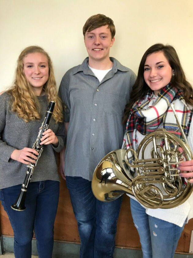 Elise Jones, Gavin Card and Kara Triscari, Jamestown high School NYSSMA All-State honorees, are pictured.