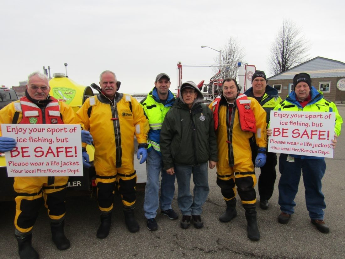 Pictured are some of the members of the Big Dip in Dunkirk. From left are Fire Chief Burl Swanson, Don Emhartt, First Assistant Chief Randy Edwards, David Gustafson, Jeff Hansen, John Johnston and Jeff Molnar, assistant chief from Bemus Point. Photo by Gene Pauszek
