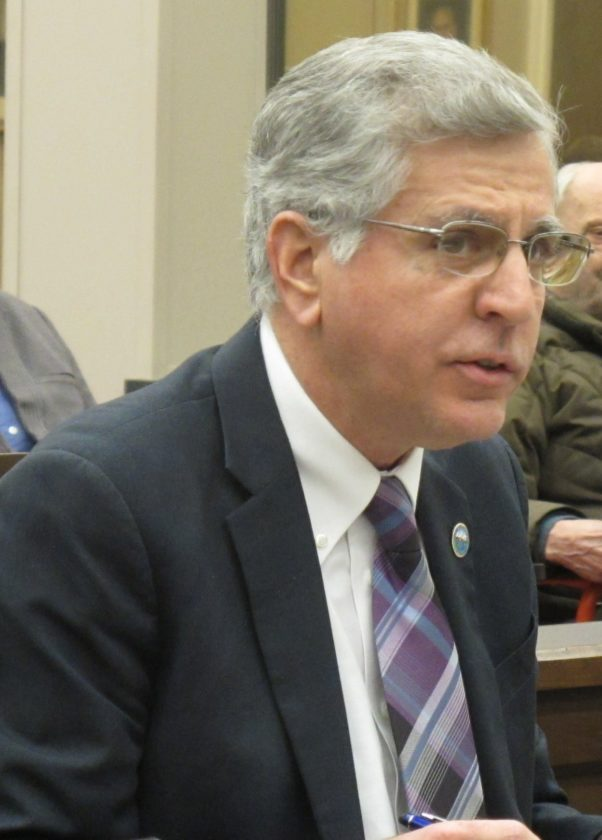 Sam Teresi, Jamestown mayor, submitted his 2018 State of the City report to Jamestown City Council Monday. Teresi's report includes an 11-page report on 59 initiatives city employees will be working to accomplish during the next year. P-J photo by Dennis Phillips
