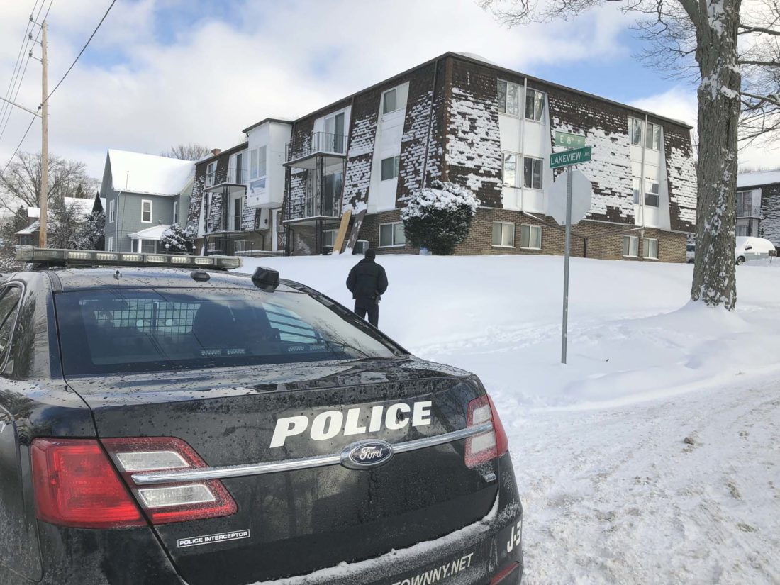 A Jamestown man was facing charges after an armed standoff with police Tuesday morning at an apartment complex on Lakeview Avenue. No injuries were reported.  P-J photo by Eric Tichy