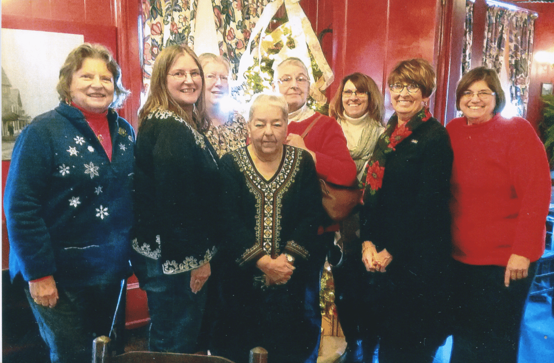 From left, Benjamin Prescott Chapter Daughters of the American Revolution members Carl Abell, Kari Wendell, Lisa Sedlmayer, Toni Sherman, Mercy Warren, Barbara Pietro, Brenda Johnson, regent, and Bonnie Larkin.  Submitted photo