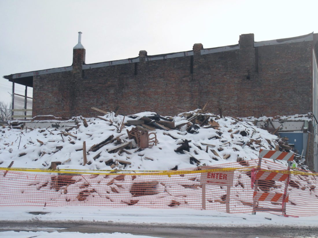 The removal of the rubble from the former Falconer Vac Shop is waiting on the approval of the insurance company, according owner Brian Nelson.  P-J photo by Katrina Fuller