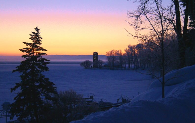 A sunrise is pictured over the Chautauqua Bell Tower in February 2007.  P-J photos by Jennifer Schlick