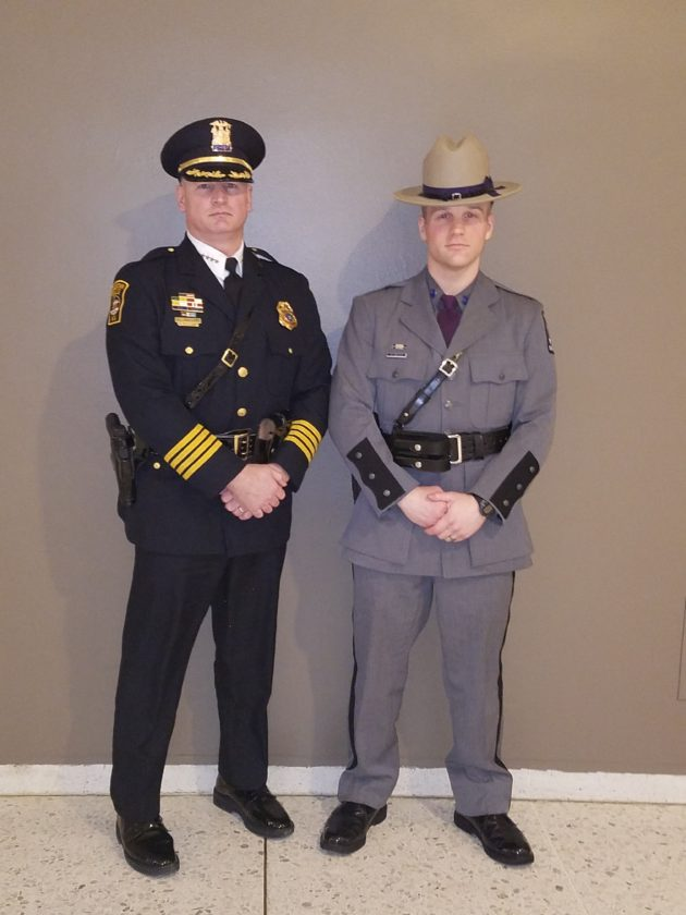 Jamestown Police Chief Harry Snellings with his son, Sean, at his graduation Wednesday from the New York State Police Academy in Albany. Sean Snellings will begin field training Monday.  Submitted photo