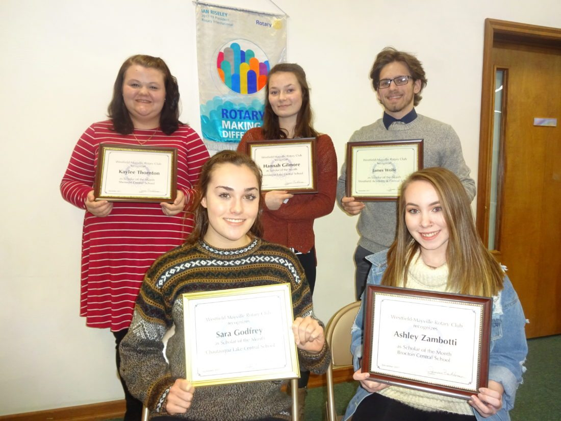 "Five high school seniors who were recognized as ""Scholars of the Month"" by the Rotary Club of Westfield-Mayville at its Jan. 23 meeting in Westfield were, seated from left, Sara Godfrey, Chautauqua Lake CSD (month of Sept.); Ashley Zambotti, Brocton CSD (Dec.); standing from left, Kaylee Thornton, Sherman CSD (Dec.); Hannah Gilmore, Chautauqua Lake CSD (Dec.); and James Wolfe, Westfield Academy and CSD (Dec.)."