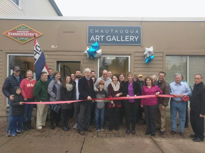 Chautauqua Art Gallery opened its doors to the public for the first time Saturday with an opening reception and ribbon cutting ceremony held at its new home, 104 Chautauqua Ave. in Lakewood. Submitted photo