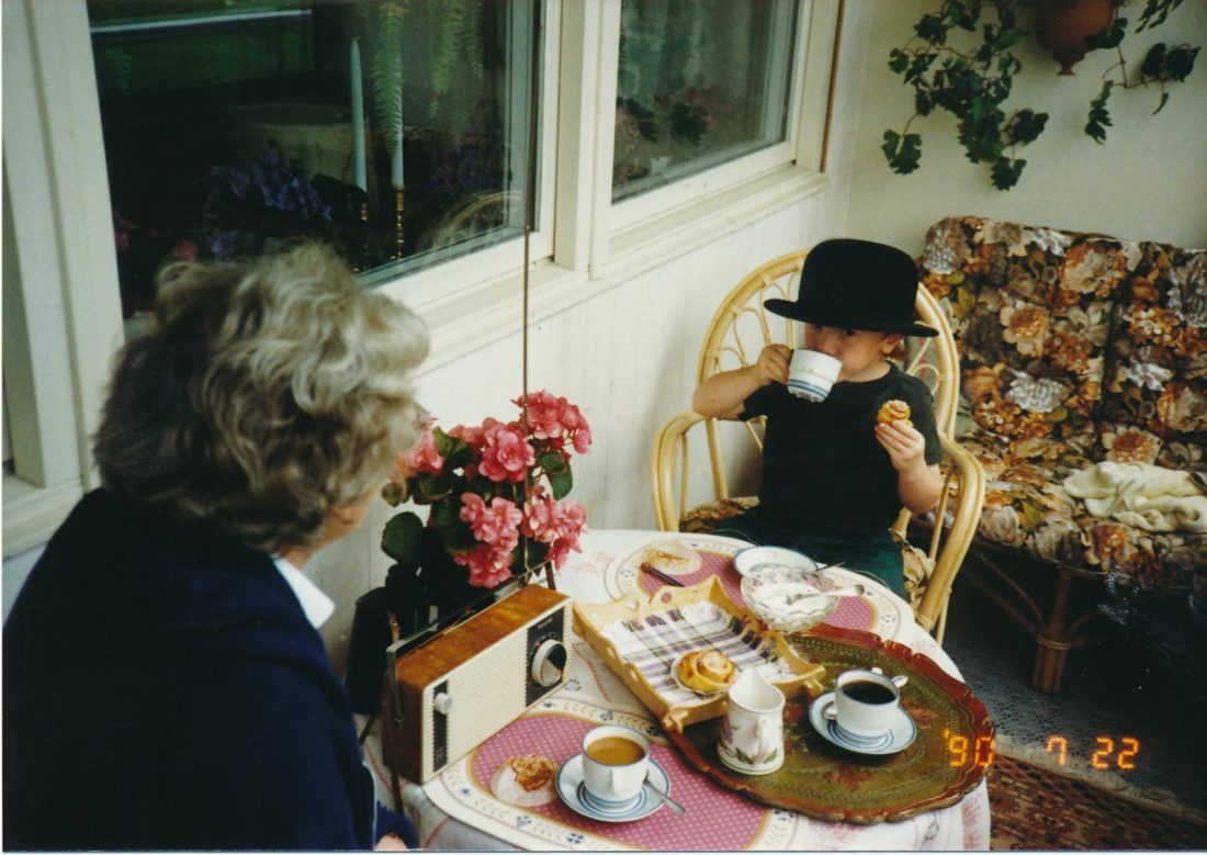Jonas Forsberg, Karin's son, with his grandmother Brita, 1991, enjoying Fika.  Photo by Soren Forsberg