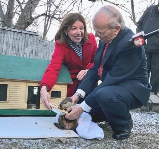 Lt. Gov. Kathy Hochul with Dunkirk Dave and his handler, Bob Will, on Friday.  Submitted photo