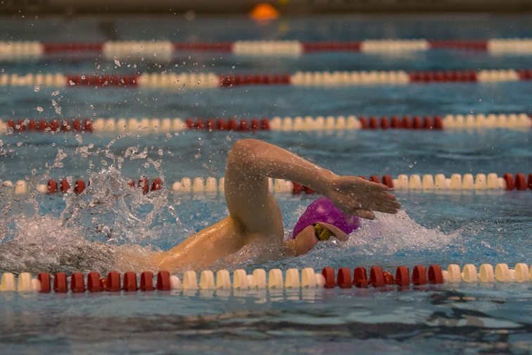 Panama's Austin Strong shows his winning form in the 500-yard freestyle during the Chautauqua-Cattaraugus Athletic Association swimming & diving championship at Olean Middle School on Friday night. See complete story and more photos on Page B3. P-J photo by Tim Frank