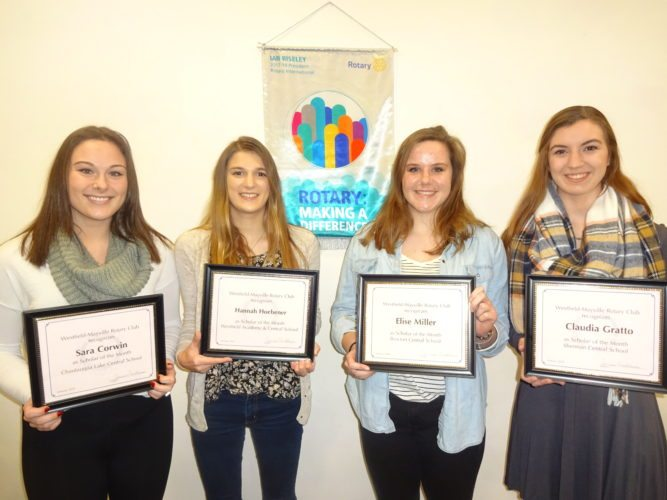 """Four high school seniors, pictured from left: Sara Corwin, Chautauqua Lake CSD; Hannah Hoebener, Westfield Academy and CSD; Elise Miller, Brocton CSD; and Claudia Gratto, Sherman CSD were given the distinction of being named as """"Scholars of the Month"""" by the Rotary Club of Westfield-Mayville at its Jan. 23 meeting in Westfield."""