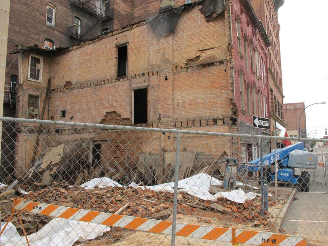 A building at 8 E. Second St. in Jamestown is slated for demolition, city officials said. A neighboring building partially collapsed in November 2016 and was later razed.  P-J file photo