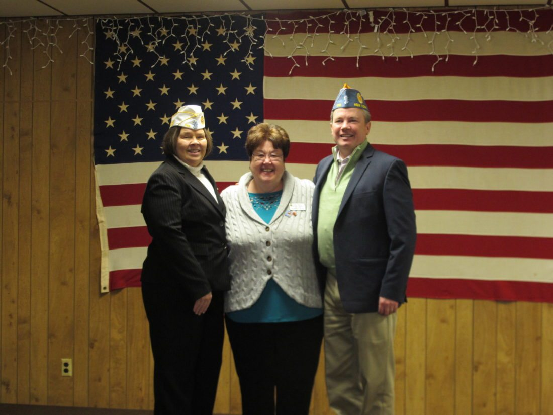 Leadership of the American Legion Department of New York visited the Lakewood Memorial American Legion Post 1286 on Monday. From left are: Rena Nessler, commander of the Department of New York; Patricia Hennessy, president of the Auxiliary; and William Clancy III, commander of the Sons of the American Legion. P-J photo by Gavin Paterniti