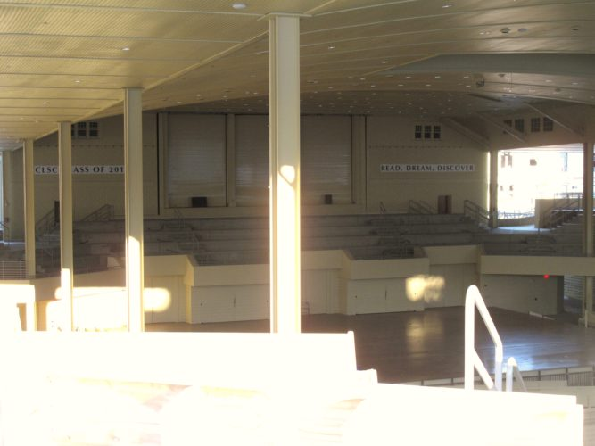 The control desk of the 1907 Massey Memorial Organ at Chautauqua Institution has sustained water damage due to melting snow and ice, however, the other parts of the organ remain unharmed. Pictured is the Chautauqua Institution Amphitheater, where the organ is housed.  P-J photo by Katrina Fuller