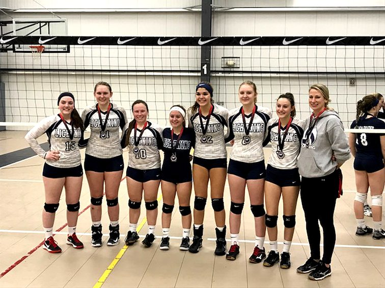 The Bemus Area Volleyball Club White Lightning competed at the Blizzard Tournament in Buffalo on Sunday. The team won the pool play going 5-1. The team rolled through the the semis defeating LAVA, 25-11, 25-5, before playing NFVB in the finals and falling, 21-25, 25-11, 9-15. Team members, pictured from left, are: Madison Russo, Olivia Pembridge, Quinn Payne, Emma Wirsen, Gillian Figueroa, Brie Hill, Katrina Bretl and coach Rebecca Zimmerman. Submitted photo