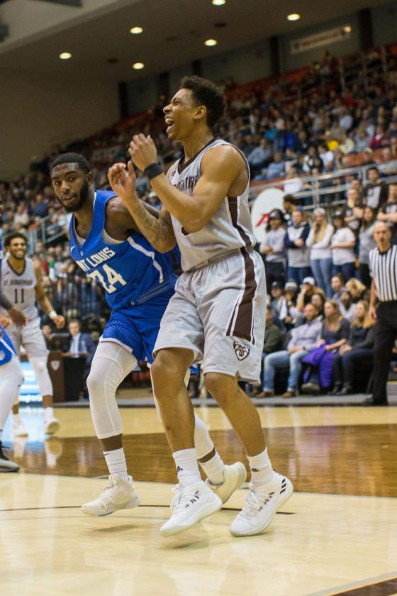 St. Bonaventure's Jaylen Adams had the last laugh at the Reilly Center on Wednesday night. P-J photo by Tim Frank