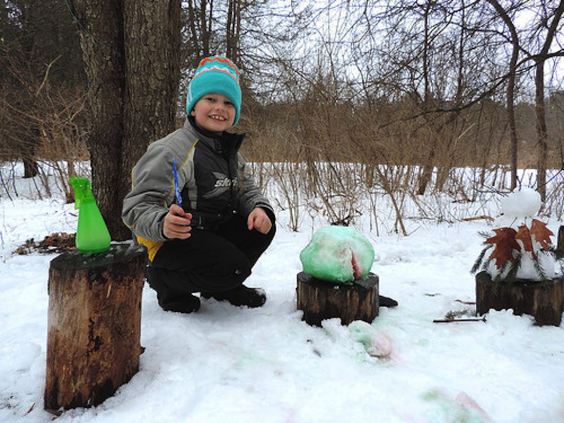 """The Audubon Community Nature Center invites children between the ages of 2 and 8 and their favorite adults to Nature Play Day outdoors on Sunday, Feb. 18. There are so many possibilities in the snow, like making a """"watermelon"""" and coloring it with colored water spray."""