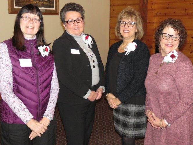 Pictured from left are 35-year employees Kathy Peterson-VanHorn, Kathy Field, Mary Jo Hamilton, and Kae Lachiusa-Kent.