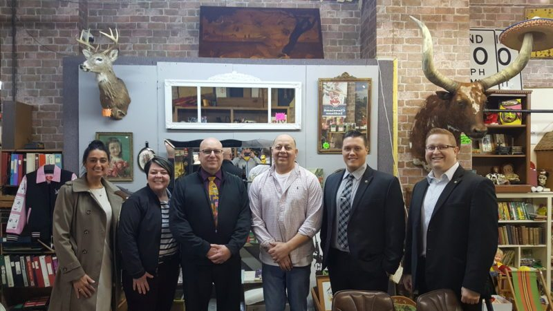 From left are Lauren Johnson, Chautauqua County Chamber of Commerce; Lisa Hatch, Jamestown Renaissance Corporation; Kevin Karr, giveaway winner; Steve Trapani, Discount Discs — Collector's Paradise; Michael Streed, DoubleTree by Hilton Jamestown; and Brandon Wade, DoubleTree by Hilton Jamestown.