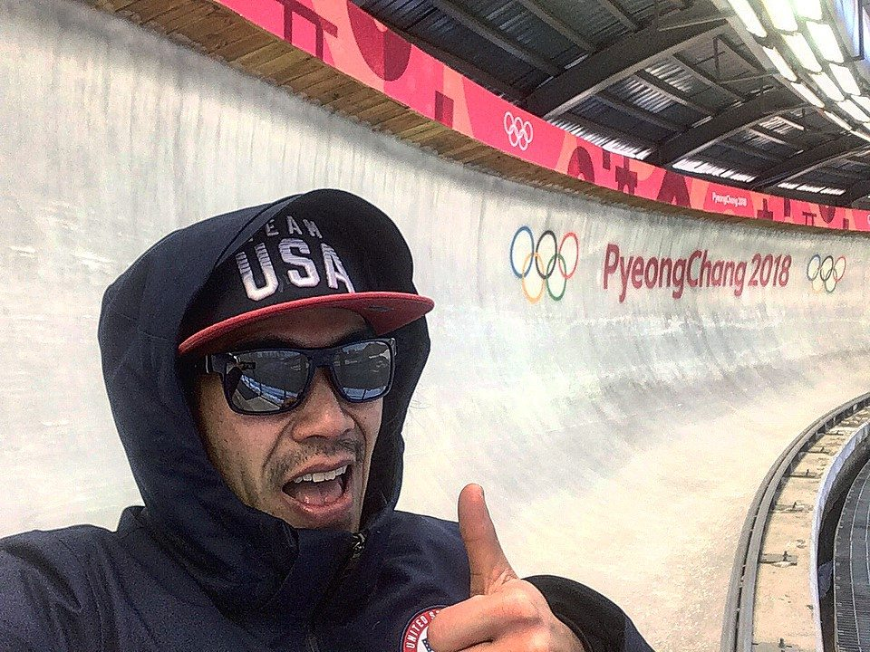 Pictured is former Ellington resident and 2001 Falconer Central School graduate Matt Oakes, who is the head strength athletic trainer for USA Luge at the Olympic Winter Games in PyeongChang, South Korea. Submitted photo