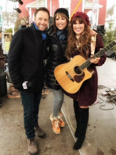 Pictured from left is Bachelor host Chris Harrison, ESPN's Hannah Storm (who will be involved in the show) and Fredonia native Ruthie Collins.  Submitted photo
