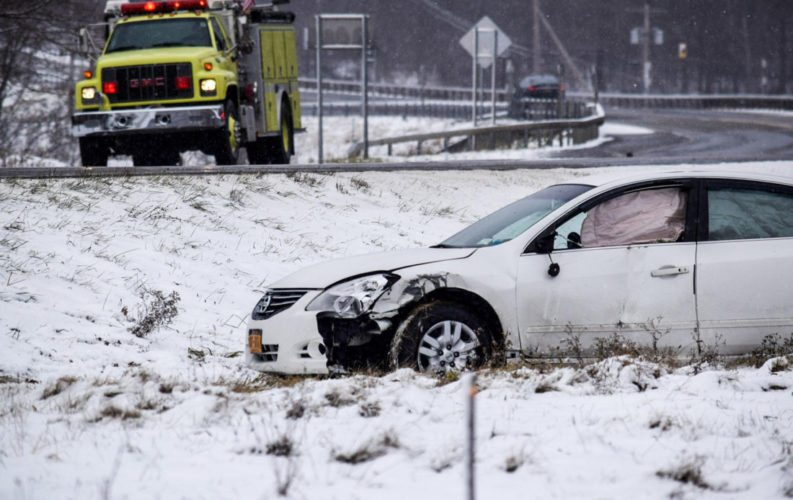 Several vehicle crashes were reported Thursday morning after snow moved into the area. A state trooper's vehicle was reportedly struck on Interstate 86. No injuries were reported.  P-J file photo